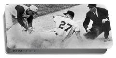 Baseball Runner Out At Third Portable Battery Charger