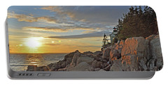 Portable Battery Charger featuring the photograph Bass Harbor Lighthouse Sunset Landscape by Glenn Gordon