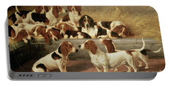 Basset Hounds In A Kennel Portable Battery Charger