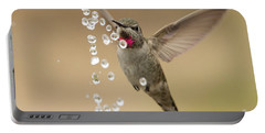 Bath Time For Anna's Hummingbird Portable Battery Charger