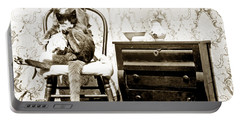 Portable Battery Charger featuring the photograph Bath Time For Kitty Circa 1900 Historical Photos by California Views Mr Pat Hathaway Archives