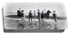 Bathers And Horses In The Surf Portable Battery Charger