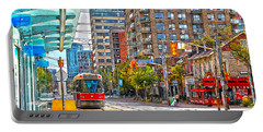 Bathurst Street Car Coming North To Queen Street Portable Battery Charger by Nina Silver