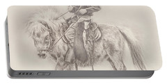 Portable Battery Charger featuring the drawing Battle Of Wills by Kim Lockman