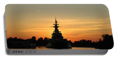 Portable Battery Charger featuring the photograph Battleship At Sunset by Cynthia Guinn