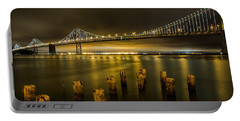 Bay Bridge And Clouds At Night Portable Battery Charger