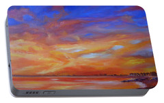Portable Battery Charger featuring the painting Bay Of Hythe On Fire by Beatrice Cloake