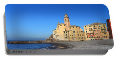 Portable Battery Charger featuring the photograph beach and church in Camogli by Antonio Scarpi