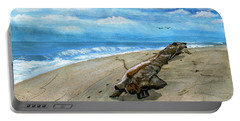 Portable Battery Charger featuring the painting Beach Drift Wood by Melly Terpening