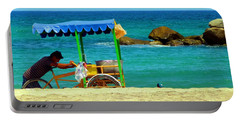 Beach Entrepreneur In San Jose Del Cabo Portable Battery Charger by Barbie Corbett-Newmin