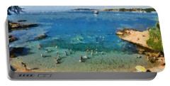 Beach In Vouliagmeni Portable Battery Charger