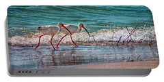 Beach Jogging In Twos Portable Battery Charger by Hanny Heim