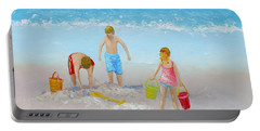 Beach Painting - Sandcastles Portable Battery Charger
