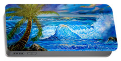 Portable Battery Charger featuring the painting Beach Sunset In Hawaii by Jenny Lee