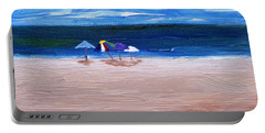 Portable Battery Charger featuring the painting Beach Umbrellas by Jamie Frier
