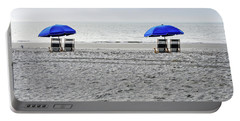 Beach Umbrellas On A Cloudy Day Portable Battery Charger