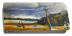 Beached Boat And Fishing Boat At Gippsland Lake Portable Battery Charger by Pamela  Meredith