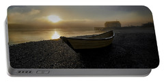 Beached Dory In Lifting Fog  Portable Battery Charger by Marty Saccone