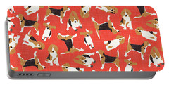 Beagle Scatter Coral Red Portable Battery Charger