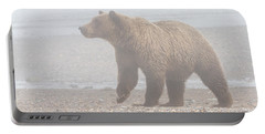 Portable Battery Charger featuring the photograph Bear In Fog by Chris Scroggins