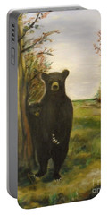 Portable Battery Charger featuring the painting Bear Necessity by Laurie L