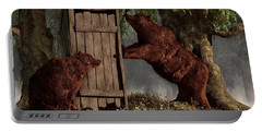 Bears Around The Outhouse Portable Battery Charger by Daniel Eskridge