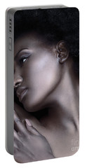 Beautiful Black Woman Face With Shiny Silver Skin Portable Battery Charger