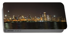 Beautiful Chicago Skyline With Fireworks Portable Battery Charger by Adam Romanowicz