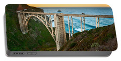 Beautiful Coastal View Of Big Sur In California In Sunrise With Bixby Bridge. Portable Battery Charger