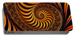 Beautiful Golden Fractal Spiral Artwork  Portable Battery Charger