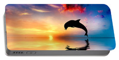 Beautiful Ocean And Sunset With Dolphin Jumping Portable Battery Charger
