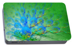 Portable Battery Charger featuring the digital art Beautiful Peacock Abstract 1 by Andee Design
