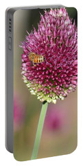 Beautiful Pink Flower With Bee Portable Battery Charger by P S