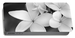 Beautiful Plumeria In Black And White Portable Battery Charger