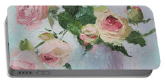 Beautiful Roses Oil Palette Knife Painting Portable Battery Charger