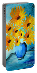 Beautiful Sunflowers In Blue Vase Portable Battery Charger