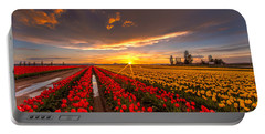 Beautiful Tulip Field Sunset Portable Battery Charger