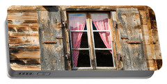 Beautiful Window Wooden Facade Of A Chalet In Switzerland Portable Battery Charger