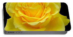 Beautiful Yellow Rose Flower On Black Background  Portable Battery Charger