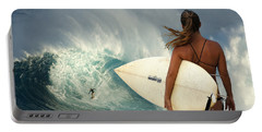 Surfer Girl Meets Jaws Portable Battery Charger by Bob Christopher