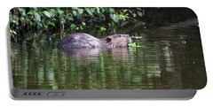 beaver swims in NC lake Portable Battery Charger by Chris Flees