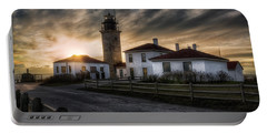 Beavertail Lighthouse Sunset Portable Battery Charger by Joan Carroll