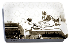 Portable Battery Charger featuring the photograph Bed Time For Kitty Cats Histrica Photo Circa 1900 by California Views Mr Pat Hathaway Archives