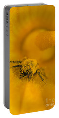 Bee In Pollen Portable Battery Charger by Chris Scroggins