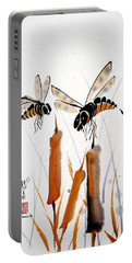 Portable Battery Charger featuring the painting Bee-ing Present by Bill Searle