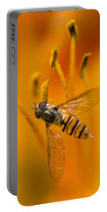 Bee Inside The Orange Lilium Flower Portable Battery Charger