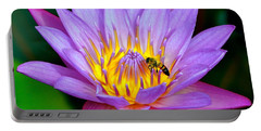 Beautiful Bee And Water Lily Portable Battery Charger