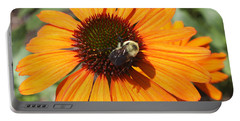 Portable Battery Charger featuring the photograph Bee On Flower by John Telfer