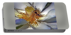 Bee On Lotus Portable Battery Charger by Savannah Gibbs