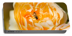 Bee Pollinating A Yellow Rose, Beverly Portable Battery Charger by Panoramic Images